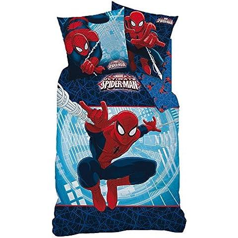 Spiderman 042935 - Ropa de cama reversible de 135 x 200 cm y almohada de 80 x 80 cm, franela, 100% algodón