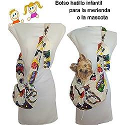 Bolso hatillo INFANTIL HIPPIE, tamaño pequeño que se hace gigante. Para la merienda de los niños o transporte de mascota. Lavable, exclusivo y patentado.