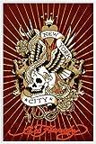 Ed Hardy Poster und Kunststoff-Rahmen - New York City Totenschädel (91 x 61cm)