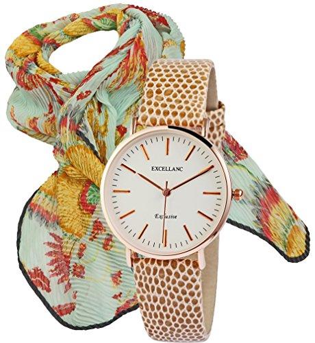 Modische aparte elegante Damenarmband Uhr in rosé goldfarben und beigem Schlangen Lederoptik Armband im Set mit Damenschal in Plisse mit exotischem Muster (Plissee Hals)