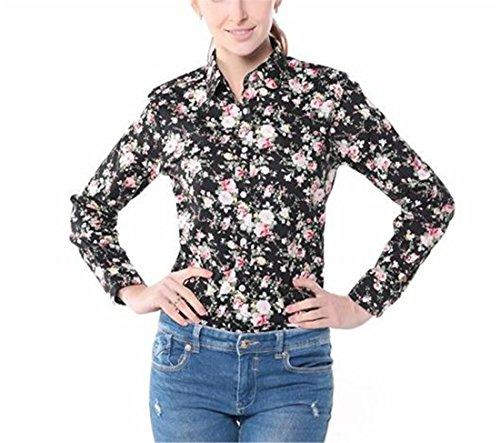 Dioufond Chemise Femme à Fleur en Coton avec Bouton Manches Longues Chemisier Blouse NoirFleur
