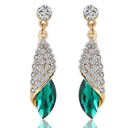 Crunchy Fashion Green Brass Dangle & Drop Earrings For Women
