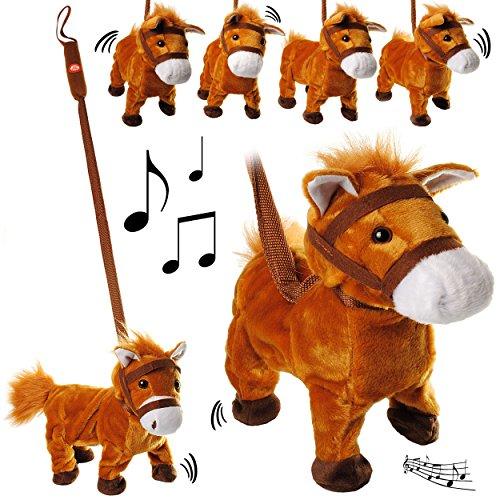 elektrisches pferd alles-meine GmbH XL - laufendes, wieherndes & tanzendes -  Pferd / Pony mit Leine & Stab  - Plüschtier mit Sound - Musik & Bewegung - aus Stoff / Plüsch - Pferde - Tier - SI..