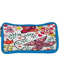 Snoogg Eco Friendly Canvas Seamless Pattern With Butterflies And Flowers Student Pen Pencil Case Coin Purse Pouch...