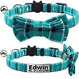 TagME Personalisierter Katzenhalsband mit Sicherheitsverschluss & Krawatte, Katzenmarken aus Edelstahl Gravur mit Name und Telefonnummer,Türkis