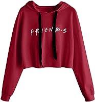 hoxin Women Girls Hoodies Friends Letter Printed Casual Crop Tops Pullover Hooded Sweatshirts Soft Hoodies