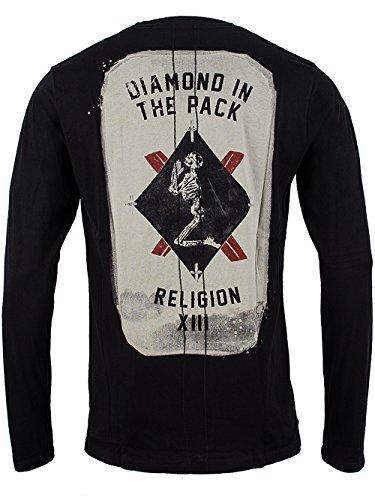 Religion Longsleeve T Shirt Männer 2 Card B241ZDF 02 B weiss - fällt normal aus, figurbetont geschnitten Black