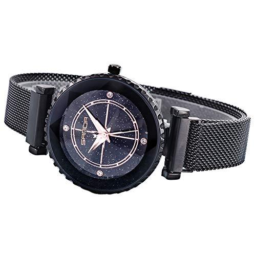 PoeHXtyy Elegante Damenuhr Stern Zifferblatt Wasserdichte Quarz Mesh Gürtel Armbanduhr Mit Einzigartigem Magnetverschluss