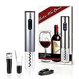 Abridor de botellas de vino eléctrico Kit 4piezas-automático acero inoxidable abridor de vino, cortador de papel de aluminio, decantador de vino y tapón de vacío-vino accesorios Set de regalo paquete Auto wine opener gift set-silver
