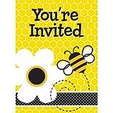 Fleißige Bienchen-Einladungskarten mit schwirrenden Bienen und Blumenmotiv, 8er Pack