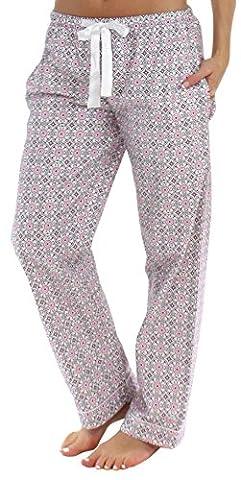 PajamaMania Pantalon de Pyjama Vêtement de Nuit en Flanelle pour Femmes, Rose Cercles (PMF1001-2037-UK-SML)