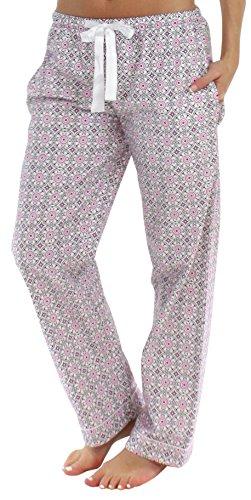 Flanell Damen Hose (PajamaMania Flanell Pyjama Hose für Damen, Rosa Kreise (PMF1001-2037-UK-LRG))