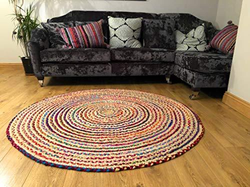 Alfombra grande redonda, trenzada, de algodón y yute, multicolor, chindi, de 150cm