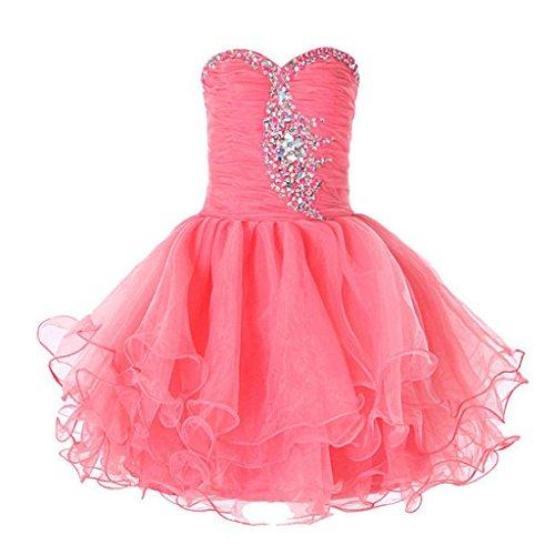 ns Prinzessin Schulterfrei Formale Ballkleid Kleid K0124 12 Koralle (Orange Fairy Kleid)