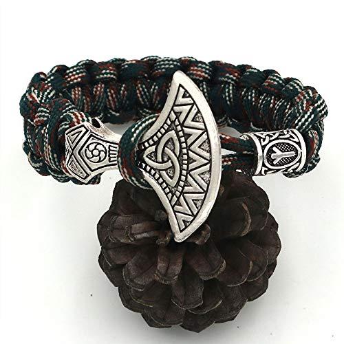 LEEFISH Wikinger Nordisch Axt + Perlen Armband, Antiquität Tarnen Handgefertigter Armreif, Bart Perlen Armband Lunavin Jelwerly Draussen,21cm