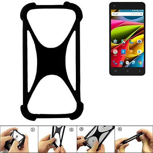 K-S-Trade Handyhülle für Archos 50b Cobalt Lite Schutz Hülle Silikon Bumper Cover Case Silikoncase TPU Softcase Schutzhülle Smartphone Stoßschutz, schwarz (1x)