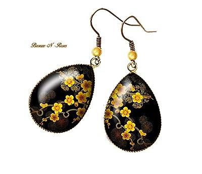 """Boucles d'oreilles gouttes """" Sakura """" cabochon bronze pendant jaune noir verre"""