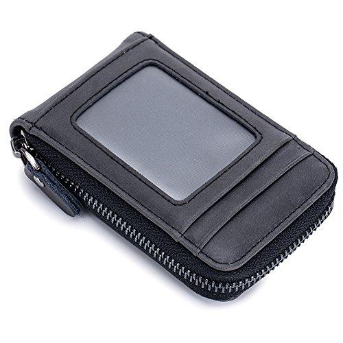 EchtLeder Kreditkartenetui mit RFID Schutz, Visitenkartenetui Kreditkarten Brieftasche Kreditkartenhalter für Herren Damen
