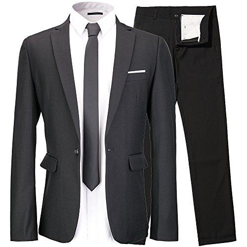 INFLATION Klassisch Slim Fit Schnitt Herren 2-Teilig Anzüge Anzugsuit Men's Suit Reine Farbe Casual Sakko Anzüge Smokings Anzugjacke+Anzughose Gr.XL Schwarz (Mens Black Anzug Kostüme)