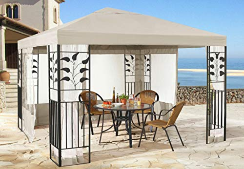 QUICK STAR Garten Blätter Pavillon 3x3m Sand Partyzelt Metall Carport mit 4 Seitenteilen mit Moskitonetz