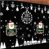 LCXYYY Fensterfolie Weihnachten Schneeflocken Fensterbilder Statisch Haftende PVC-Sticker Weihnachten Fensterdeko Aufkleber WandtattooFensteraufkleber Weihnachten Hirsch Eisbär Schneemann
