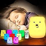 TOPERSUN Veilleuse Chambre Lampe Veilleuse Bébé Multicolore Rechargeable à Distance Veilleuse Légère 9 Couleurs [Classe Énergétique A ++]