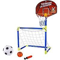 MRKE 2 en 1 Portátil Plegable Canasta Baloncesto Infantil + Porterias de Futbol para Niños con Inflador, Baloncesto, Fútbol, 102CM
