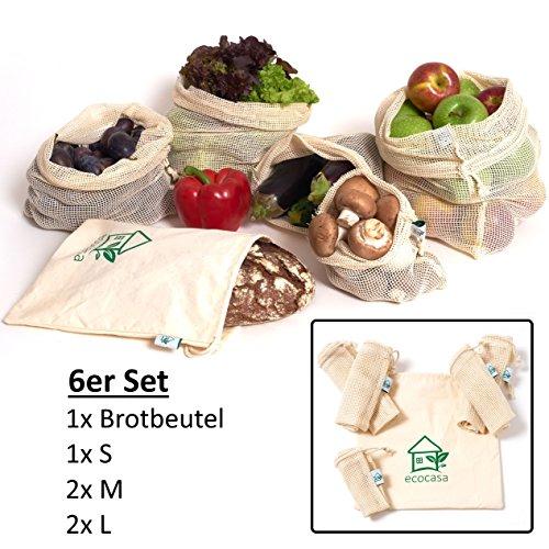 Obst- und Gemüsebeutel Einkaufstaschen mit Brotbeutel von ecocasa aus GOTS Bio Baumwolle – plastikfrei - wiederverwendbar - Shopper Netz 6er SET aus 1x S, 2x M, 2x L, 1x Stoffbeutel (Baumwoll-beutel)