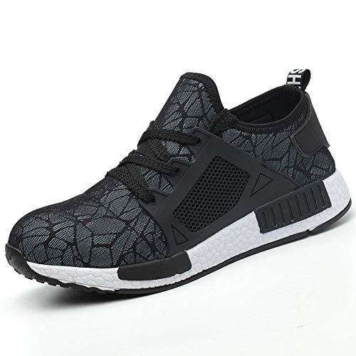Sportliche Knöchel Unterstützt (JIEFU Sicherheitsschuhe Arbeitsschuhe Herren, Damen Sicherheit Stahlkappe Stahlsohle Anti-Perforations Luftdurchlässige Sneakers,37EU)