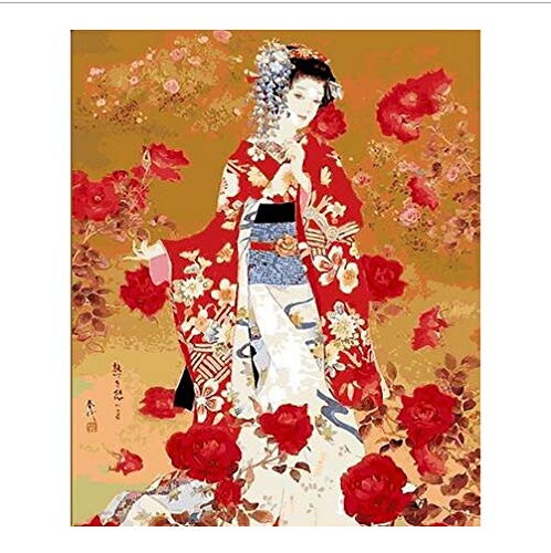 asd137588 Japanisches Kostüm Kimono Schönheit Malen Nach Zahlen Leinwand Malerei Handgemalte Digitale Japan Wandkunst Bild Für Wohnkultur