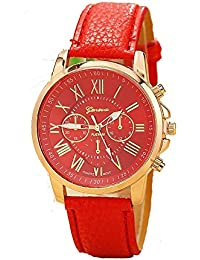 CLWD Geneva Red Color Unisex Watches Roman Numerals Fau PU Leather Analog Quartz Women Men Casual Relogio Wrist...