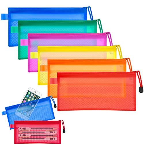 YANSEN 12 stücke Reißverschluss Datei Taschen 6 Farben Wasserdichte Grid Doppelschicht PVC Plastiktüte Schreibwaren Tasche für Bleistiftbeutel Kosmetik Liefert Reise