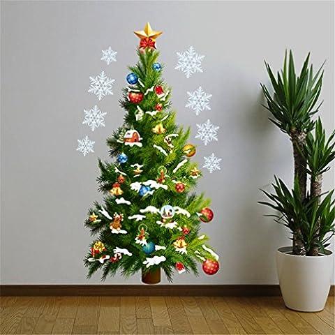 DIY Wandsticker Weihnachtsbaum, Kfnire Weihnachts Fenster Sticker Dekoration Entfernbare wasserdicht Wohnzimmer Schlafzimmer Grüne Flowers Wandtattoos Wandbilder (A)