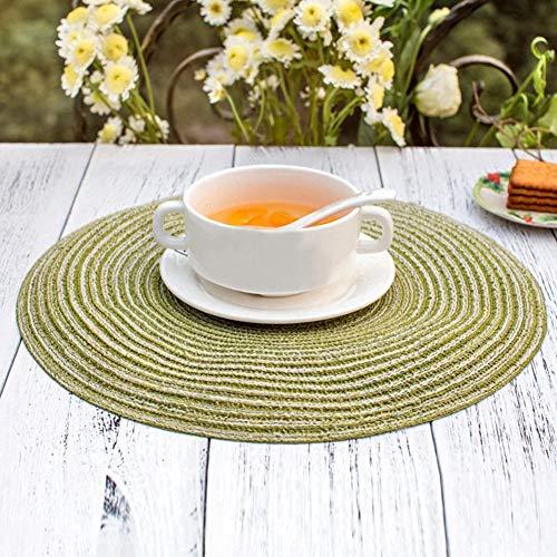 21sandwhick Tischset, Prägnante Runde Leinen Geflochtene Tasse Wärmeisolierte Schüssel Platte Tischset SNone Grün -