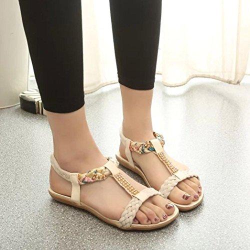 hunpta Women Sandals Elastic Strap Shoes Casual Shoes Sandals Comfort Sandals (39, Beige)