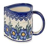 Traditionelle Polnische Keramik, handgefertigte Keramiktassen, EIN Becher in Herzform mit Muster im Bunzlauer Stil (250ml), Q.801.Pansy