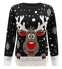 Idea Regalo - FK Styles, maglione natalizio da donna, con motivo fiocchi di neve e renna Rudolph Black. M/L = 44-46