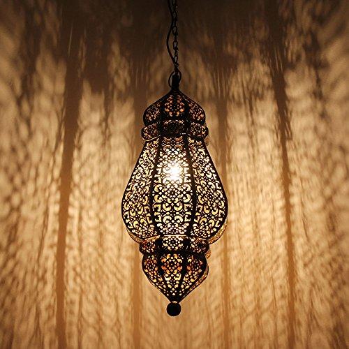 albena shop 71-5731 Govi lámpara oriental de techo ø 20 x 50 cm metal negro / oro interior