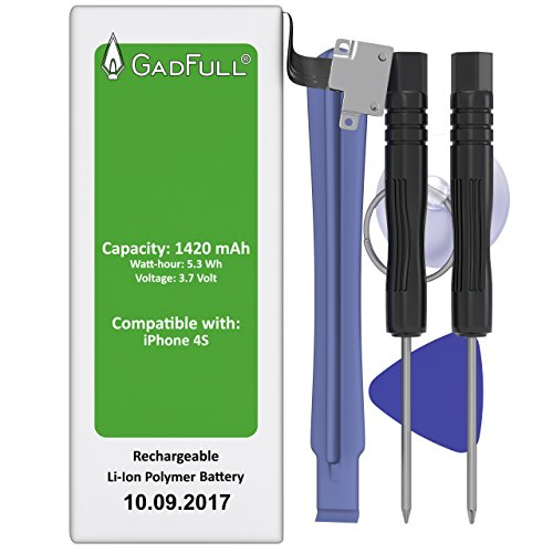 GadFull® Akku für Apple iPhone 4S mit Werkzeugset | 2017 Baujahr | inkl. Reparaturset Anleitung & Profi Kit Tool Set | Qualitäts Erzatzakku ohne Ladezyklen | Funktioniert mit alle original APN | Handy Accu Neu Batterie Battery Iphone 4 Teile
