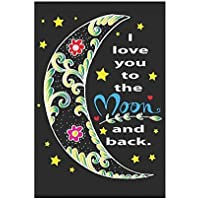 Rcivdkem I Love You to The Moon and Back Garden Flag House Banner, Valentin's Day Decorative Flag for Party Yard Home Outdoor Decor, 100% Polyester