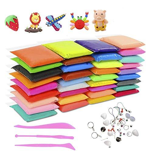 Minn 36 Farben Luft trockenen Lehm,Fluffy Slime Spielzeug,ungiftig Modellierung Clay&Teig,kreative Kinderknete für DIY Handgemachtes Lernen,Mitgebsel für Kindergebrustag für Jungen &Mädchen