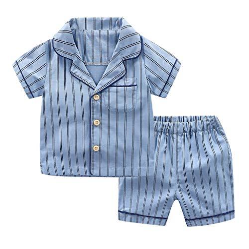 Kinder Unisex Baby 2 Stück Bekleidungsset Herbst,Yanhoo Neugeborenes Baby Jungen Mädchen Elefanten Gestreift Print T-Shirt Tops Set Casaul Kleidung (110, Blau)