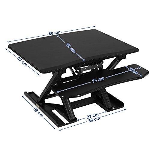 SONGMICS Sitz-Steh-Schreibtisch Höhenverstellbarer Aufsatz Laptop-Ständer Monitorständer Schnell Zum Stehen Einstellen Abnehmbaren und winkeleinstellbaren Tastaturablage 80 x 62 cm Schwarz LSD08B - 6
