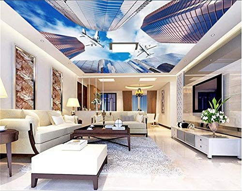 MuraonMural HDpersonalizado papel tapiz fotográfico 3D techo techo fotográfico de alta definicióncielo de aeronaves cielo zenith muo tejido foto, 350x245 cm (137.8 por 96.5 pulg.)