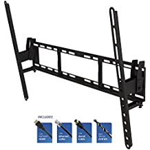 "Soporte de Montaje en Pared Inclinable de TV / Inclinado / Kit de Instalación para Televisión de 37 ""a 80"" (LED, OLED, LCD, Pantalla Plana) Con Cable HDMI de 1.5M, Cable Ethernet 1.5M Cat5e RJ45, Cable de Antena de 1.5M y Broca / iCHOOSE"