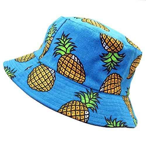 Imagen de chungeng actualizado versión piña fruta estampado doble lado sombreros vintage lona de pescador  hip hop punk para hombre mujer camping, picnic y otro actividades al aire libre  azul código, na