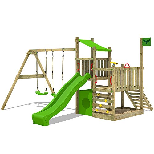 FATMOOSE Spielturm PowerPalm Triple XXL Kletterturm Baumhaus Holz Schaukel Rutsche mit 3 Spielebenen und 2 Schaukelsitzen - Schaukel Kinder Spielhaus Mit