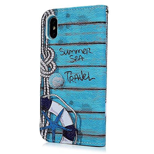 MAXFE.CO Schutzhülle Tasche Case für iPhone X PU Leder Flip Tasche Cover Gemalt Muster im Ständer Book Case / Kartenfach Rock Musik Ozean Stil