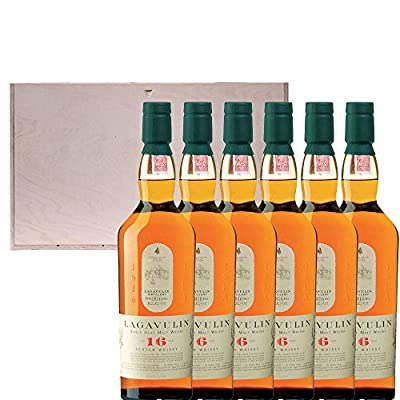 6 x Lagavulin 16 Year Old Single Malt Scotch Whisky in Pine Wood Gift Box With Handcrafted Gifts2Drink Tag