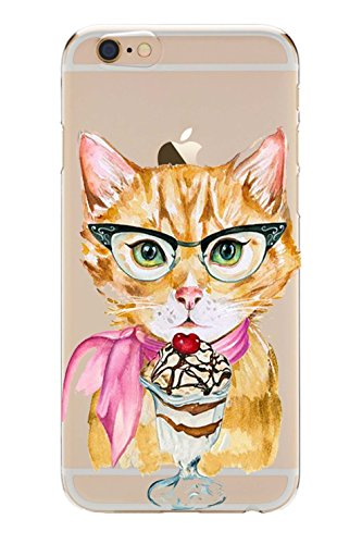 Blitz® GIRLY Schutz Hülle Transparent TPU Cartoon Comic iPhone  sleeping cute Cats M16 iPhone X Cat eat Ice M8